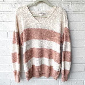 Knox Rose | Pink and Cream Striped Sweater